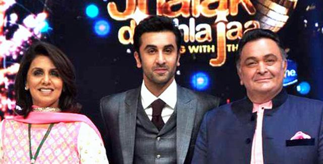 Риши Капур с женой и сыном.