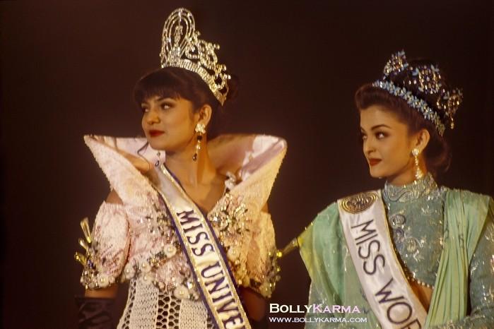 Сушмита Сен и Айшварья Рай на конкурсе Мисс Индия 1994